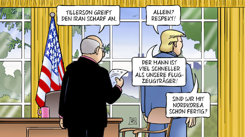 Cartoon: Tillerson und Iran (medium) by Harm Bengen tagged tillerson,iran,trump,oval,office,krieg,flugzeugträger,nordkorea,harm,bengen,cartoon,karikatur,tillerson,iran,trump,oval,office,krieg,flugzeugträger,nordkorea,harm,bengen,cartoon,karikatur