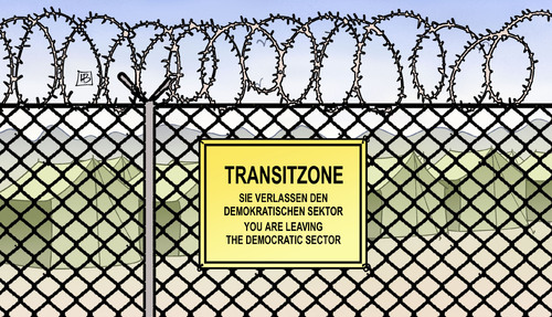 Cartoon: Transitsektor (medium) by Harm Bengen tagged sektor,transitzone,einreisezentrum,lager,zaun,stacheldraht,spd,cdu,csu,groko,fluechtlinge,flucht,grenze,asyl,harm,bengen,cartoon,karikatur,sektor,transitzone,einreisezentrum,lager,zaun,stacheldraht,spd,cdu,csu,groko,fluechtlinge,flucht,grenze,asyl,harm,bengen,cartoon,karikatur