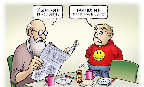 Cartoon: Trump-Beine (medium) by Harm Bengen tagged lügen,beine,kurze,kind,opa,trump,prothesen,usa,zeitung,harm,bengen,cartoon,karikatur,lügen,beine,kurze,kind,opa,trump,prothesen,usa,zeitung,harm,bengen,cartoon,karikatur