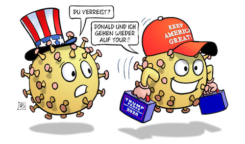 Cartoon: Trump wieder auf Tour (medium) by Harm Bengen tagged trump,usa,wahlkampf,corona,virus,kappe,infektion,tour,wahlkampfauftritte,auftritte,harm,bengen,cartoon,karikatur,trump,usa,wahlkampf,corona,virus,kappe,infektion,tour,wahlkampfauftritte,auftritte,harm,bengen,cartoon,karikatur