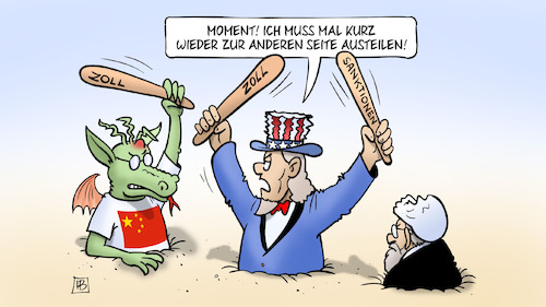 Cartoon: USA-China-Iran (medium) by Harm Bengen tagged china,handelsstreit,handelskrieg,zoll,sanktionen,drache,atomabkommen,deal,iran,usa,aussteigen,rohani,uncle,sam,harm,bengen,cartoon,karikatur,china,handelsstreit,handelskrieg,zoll,sanktionen,drache,atomabkommen,deal,iran,usa,aussteigen,rohani,uncle,sam,harm,bengen,cartoon,karikatur