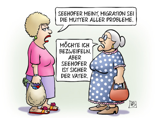 Cartoon: Vater aller Probleme (medium) by Harm Bengen tagged seehofer,innenminister,csu,migration,fluechtlinge,mutter,aller,probleme,vater,susemil,harm,bengen,cartoon,karikatur,seehofer,innenminister,csu,migration,fluechtlinge,mutter,aller,probleme,vater,susemil,harm,bengen,cartoon,karikatur