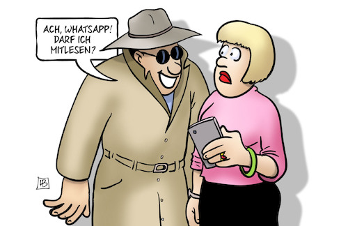 Cartoon: Whatsapp mitlesen (medium) by Harm Bengen tagged whatsapp,mitlesen,trojaner,geheimdienste,datenschutz,handy,harm,bengen,cartoon,karikatur,whatsapp,mitlesen,trojaner,geheimdienste,datenschutz,handy,harm,bengen,cartoon,karikatur