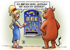 Cartoon: EFSF-Hebel (small) by Harm Bengen tagged efsf,hebel,euro,europa,eurokrise,euroschuldenkrise,schulden,kredite,staatsanleihen,stier,spielautomat,eurozone,finanzen,finanzkrise,eurobonds