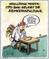 Cartoon: Otto Hahn (small) by Harm Bengen tagged physik,hahn,huhn,atom,kernspaltung