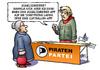 Cartoon: Piratenwahlkampf (small) by Harm Bengen tagged piratenwahlkampf,piraten,wahlkampf,partei,kugelschreiber,luftballon,smartphone,internet,apps,harm,bengen,cartoon,karikatur