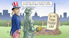 Cartoon: Trump-Rückkehr (small) by Harm Bengen tagged trump,rückkehr,republikaner,partei,grab,friedhof,uncle,sam,freiheitsstatue,liberty,pflock,herz,zombie,präsidentschaft,harm,bengen,cartoon,karikatur