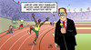 Cartoon: Usain Bolt (small) by Harm Bengen tagged usain,bolt,olympia,rekord,sprint,weltrekorde,twitter,reporter,stadion