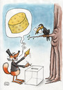 Cartoon: The Raven and the Fox (small) by vladan tagged raven,fox,elections,vote