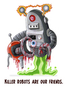 Cartoon: Robo Friend (small) by esplesst tagged robot,gory,science,fiction,space,blood,funny