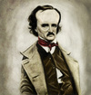 Cartoon: Edgar Allan Poe (small) by markdraws tagged edgar allan poe caricature humor illustration photoshop painting digital art horror author mystery raven