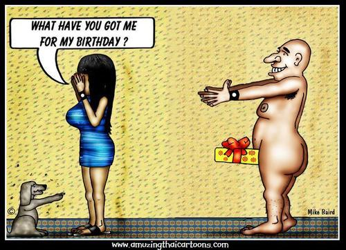 Cartoon: Birthday Surprise (medium) by Mike Baird tagged birthday,sexy,present,surprise