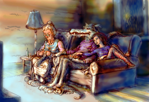 Cartoon: couch weather (medium) by nootoon tagged rain,couch,wolf,grandma,redridinghood,illustrator,peace,nootoon,germany