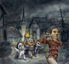 Cartoon: der rattenfaenger von hameln (small) by nootoon tagged helloween,halloween,hellovienna,nootoon,hameln,rattenfaenger,grimm,brother,illustration,germany