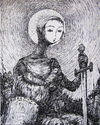 Cartoon: jeanne d arc with twins (small) by nootoon tagged nootoon,germany,traditional,art,bw