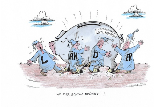 Cartoon: Einsparungen der Asylkosten (medium) by mandzel tagged scholz,haushaltsplan,asylkosten,bundesländer,einsparungen,scholz,haushaltsplan,asylkosten,bundesländer,einsparungen