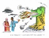 Cartoon: Dalai Lama bei Obama (small) by mandzel tagged dalai,lama,china,obama,besuch,drache