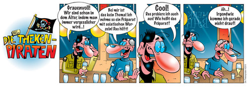 Cartoon: Die Thekenpiraten 04 (medium) by stefanbayer tagged medizin,gedächtnislücke,comic,stefan,bayer,stefanbayer,theke,piraten,thekenpiraten,kneipe,bar,lounge,trinken,freizeit,gastronomie,gedächtnis,gehirn,vergessen,vergesslichkeit,alter,alzheimer,asiatisch,wurzeln,präparat