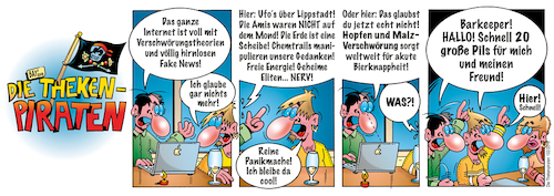 Cartoon: Die Thekenpiraten 102 (medium) by stefanbayer tagged theke,piraten,thekenpiraten,bier,wein,sekt,alkohol,internet,laptop,smartphone,fakenews,fake,verschwörung,ufo,mond,chemtrails,eliten,energie,pils,panikmache,glauben,vertrauen,lüge,bierknappheit