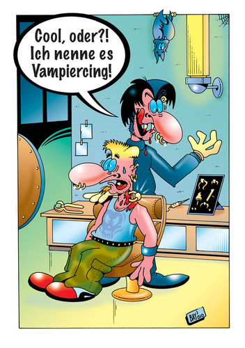 Cartoon: Piercing mit Biss! (medium) by stefanbayer tagged vampir,piercing,vampiercing,piercingstudio,piercen,schmuck,mode,beissen,stechen,bohren,fledermaus,nacht,blut,blutsauger,stefan,bayer,saugen