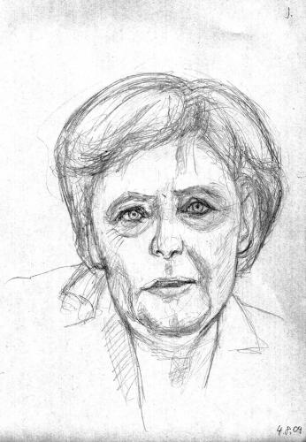 Cartoon: Skizze Merkel (medium) by Mawi tagged skizze,merkel,politik,portrait