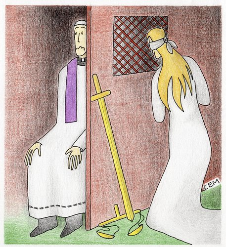 Cartoon: confessional booth (medium) by cemkoc tagged themis,justice,confessional,booth