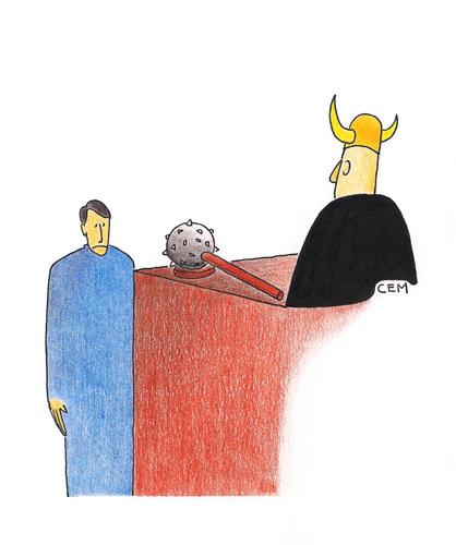 Cartoon: Court (medium) by cemkoc tagged defendant,judge,court,hukuk,karikatürleri,law,cartoons