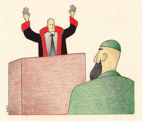 Cartoon: fundamentalism on the court (medium) by cemkoc tagged ko,cem,karikatürleri,hukuk,cartoons,law,court,the,and,fundamentalism