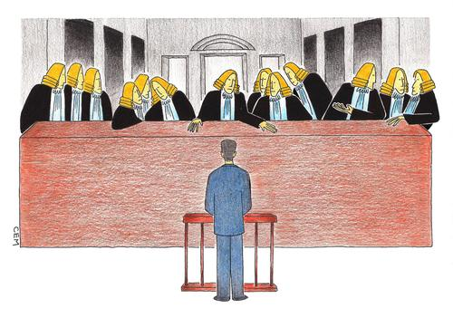 Cartoon: last judgement (medium) by cemkoc tagged final,vinci,da,leonardo,cenacolo,il,cena,ultima,supper,last,court,judge,judgement,cartoons,law,karikatürleri,hukuk,meal,defendant,trial