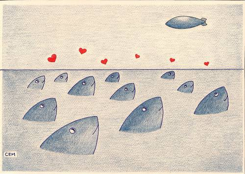 Cartoon: love of fishes (medium) by cemkoc tagged fish