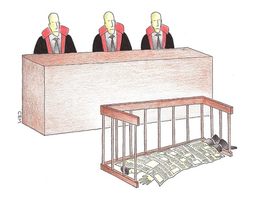 Cartoon: press court (medium) by cemkoc tagged ko,cem,karikatürleri,hukuk,cartoons,law,newspaper,press
