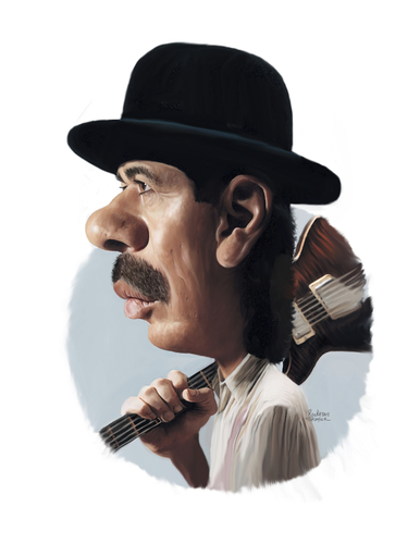 Cartoon: Carlos Santana (medium) by rocksaw tagged santana,carlos,study,caricature