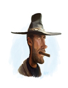 Cartoon: Clint Eastwood (small) by rocksaw tagged caricature,study,clint,eastwood