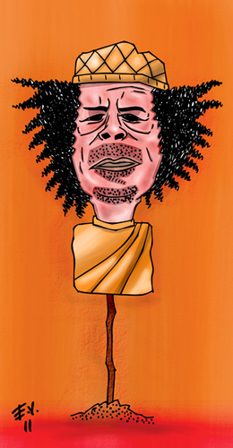 Cartoon: kaddafi gaddafi libya (medium) by emre yilmaz tagged kaddafi,gaddafi,libya
