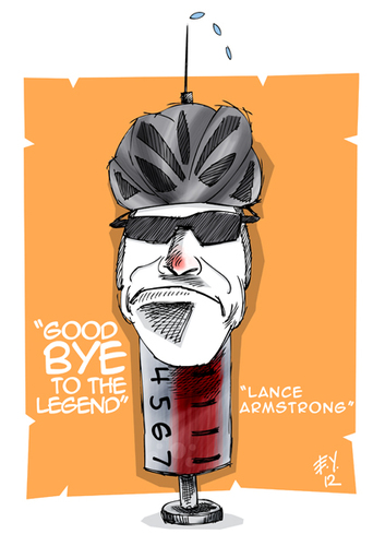 Cartoon: lance armstrong (medium) by emre yilmaz tagged lance,armstrong,bicycle,usa,sport
