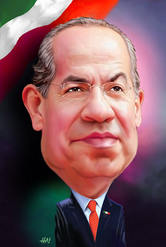 Cartoon: felipe calderon (medium) by Halil I YILDIRIM tagged felipe,calderon,president,of,mexico
