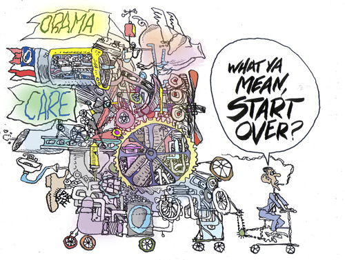 Cartoon: a body in motion (medium) by barbeefish tagged obama