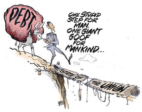 Cartoon: a step (medium) by barbeefish tagged obama