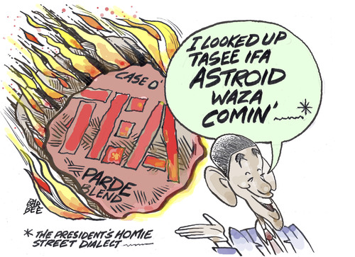 Cartoon: asteroid (medium) by barbeefish tagged obama