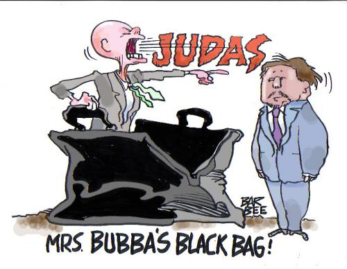 Cartoon: black bag (medium) by barbeefish tagged the,clintons,