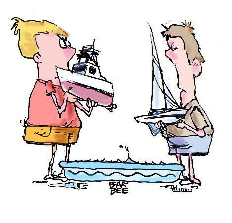Cartoon: boating (medium) by barbeefish tagged sail,vs,power,