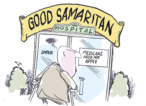 Cartoon: cost cuts (medium) by barbeefish tagged obamacare