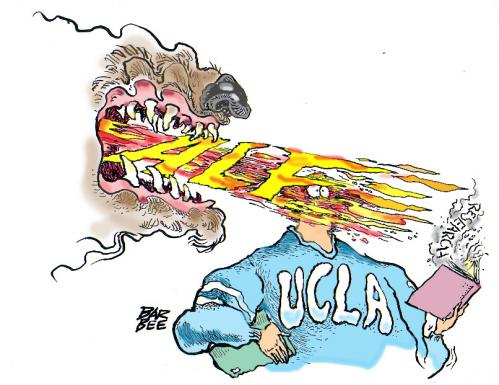 Cartoon: fire bomb UCLA (medium) by barbeefish tagged ucla