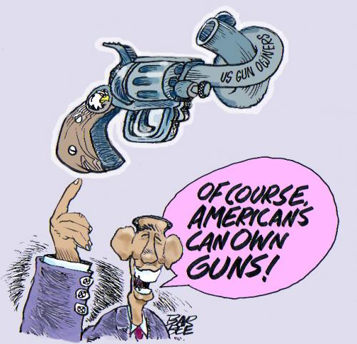 Cartoon: gun laws (medium) by barbeefish tagged obama,on,guns