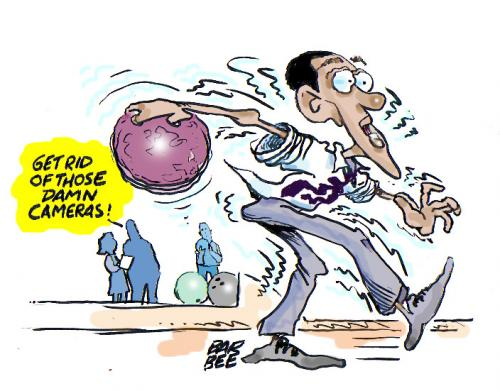 Cartoon: gutter ball (medium) by barbeefish tagged obama,