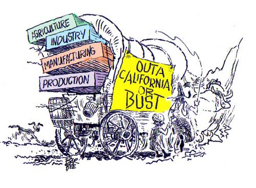 Cartoon: out of CA (medium) by barbeefish tagged or,bust,