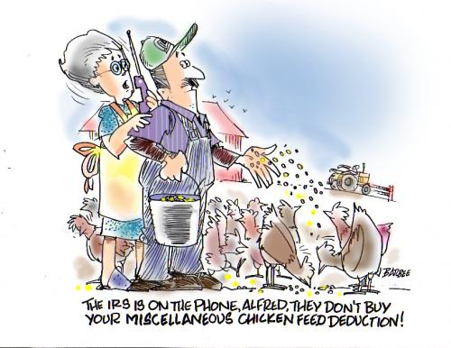 Cartoon: taxes (medium) by barbeefish tagged chicken,farmer,