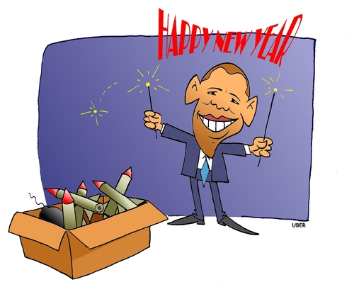 Cartoon: HAPPY NEW YEAR FIREWORKS (medium) by uber tagged obama,firework,new,year,terrorism,barack obama,feuerwerk,böller,neujahr,2010,terrorismus,barack,obama