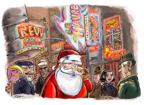 Cartoon: Santa on the Reeperbahn (medium) by ian david marsden tagged santa,claus,hamburg,reeperbahn,sailors,weihnachtsmann,hamburg,reeperbahn,seefahrer,seemann,stadt