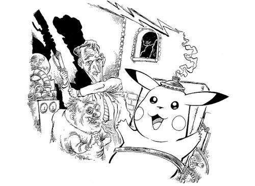 Cartoon: the creation of pokemon (medium) by ian david marsden tagged frankenstein,monster,pokemon,frankenstein,monster,pokemon,experiment,literatur